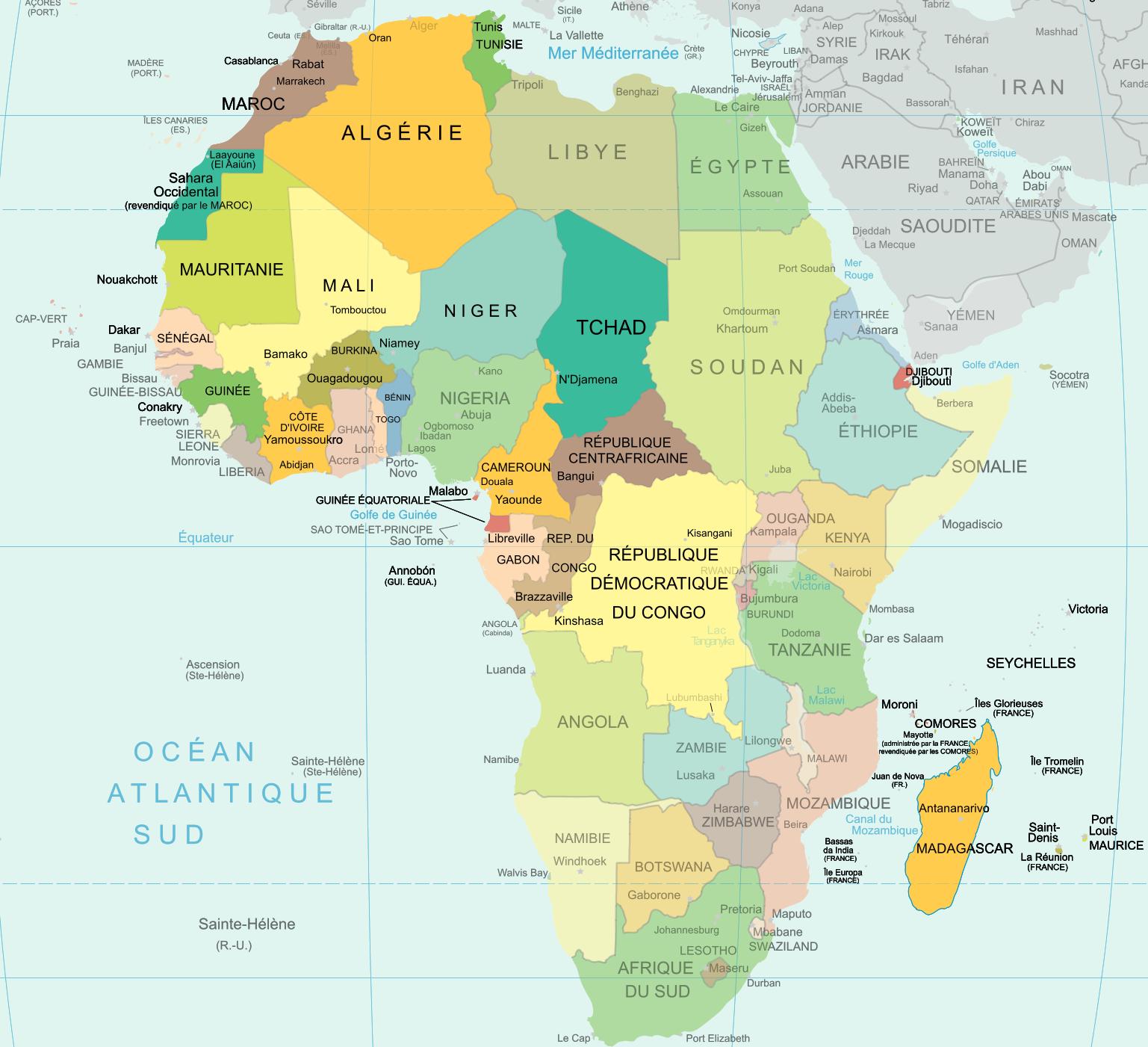 carte des pays africains où le français est parlé